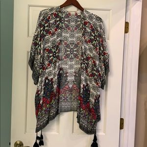 100% rayon kimono with multiple tassels
